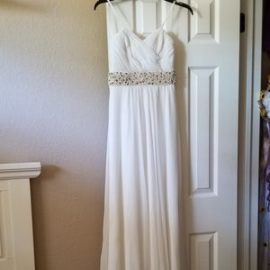 Cache size 0 prom dress ivory with beading